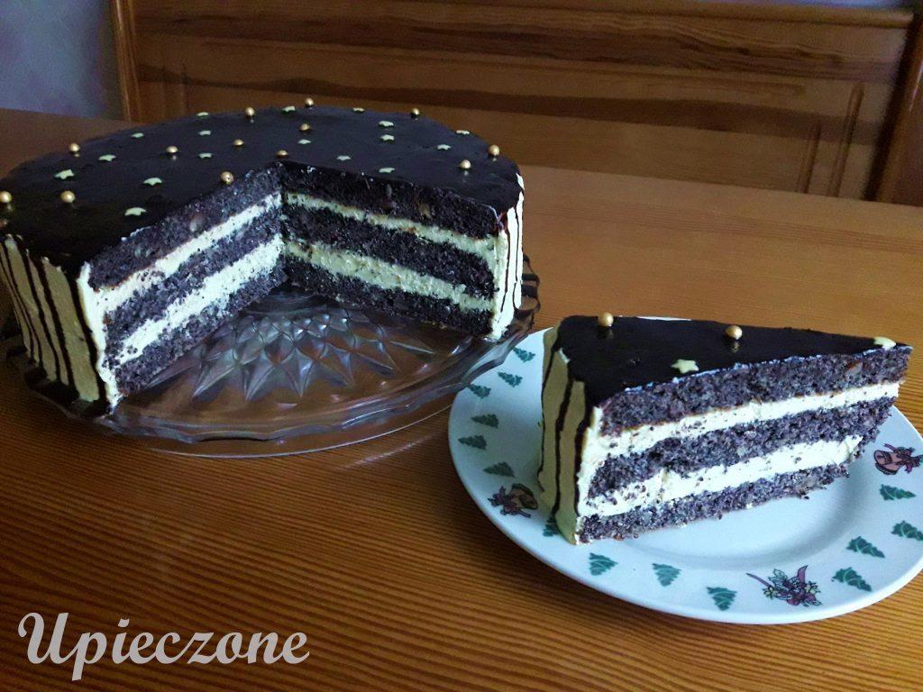 Tort makowy z kremem miodowym